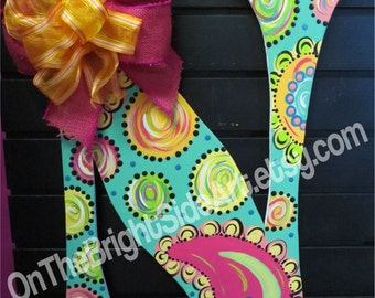 Large Door Hanger Letters with Bows (or without)