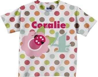 Girls Ladybug Shirt, Personalized Polka Dot Flower Lady Bug Birthday Tshirt