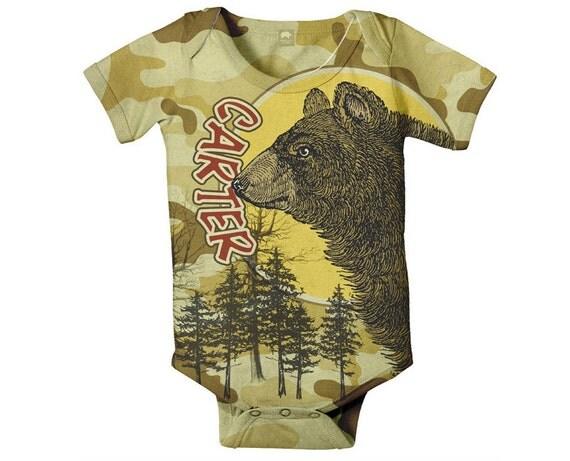 Camouflage Baby Boy Bodysuit, Personalized Bear Woodsy Custom Onepiece Snapshirt, Baby Boy Clothing