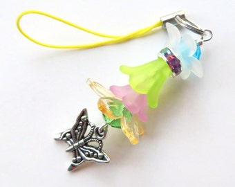 BUTTERFLY BEAUTY- Beaded Zipper Pull, Cell Phone or Handbag Charm/Necklace Pendant- Lucite Beads, Cystals, Tibetan Silver Butterfly Charm