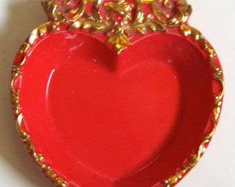 Take 30% Off LARGE Vintage VALENTINE Kitch Catch All Bright Red & Gold Porcelain Bowl