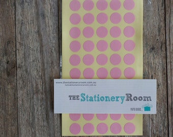 Mini Pastel Pink Circle Stickers - 1cm Circle Label Sticker Seals - 200 Blanks per set