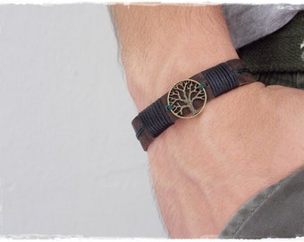 Tree Of Life Leather Cuff Bracelet, Men's Leather Bracelet Cuff, Celtic Leather Bracelet, Forest Tree Bracelet, Elven Viking Leather Cuff