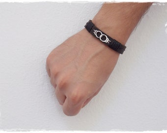 "Dom Leather Cuff, BDSM Leather Bracelet, Handcuff Bracelet, Men's Leather Cuff, Brown Leather Wristband, ""Freedom"" Handcuff Leather Bracelet"