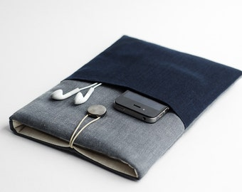 Blue Macbook Air sleeve, 11 inch Macbook case, with pocket, blue, minimal sleeve