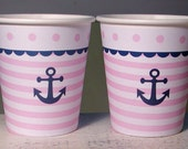 Nautical Anchor Pink & Navy Hot/Cold Paper Party Cups - Set of 12