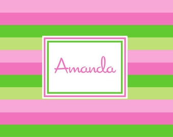 Pink & Green Bold Stripe Personalized  Placemat