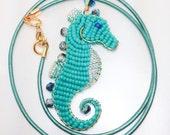 Fintan the Seadragon - Giant Seahorse Pendant - Wire Wrapped Original Design - Turquoise Silver and Gold - Leather Cord