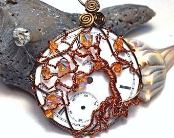 Whimsical Tree of Life Pendant - Steampunk Clock Face Pendant - Swarovski Crystals - Time Pendant