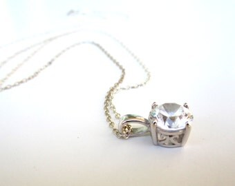 Sterling Silver Solitaire Pendant Necklace