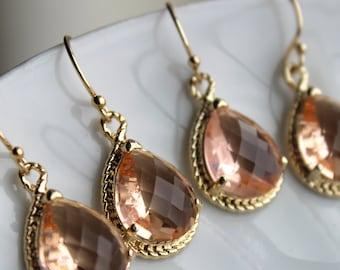 15% OFF SET OF 9 Wedding Jewelry Blush Bridesmaid Earrings Bridesmaid Jewelry - Champagne Blush Earrings Gold Peach Pink Teardrop Jewelry