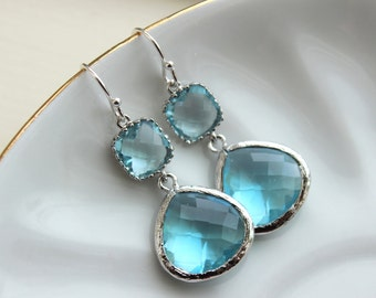 Large Silver Aquamarine Earrings Aqua Blue Jewelry - Aquamarine Bridesmaid Earrings Blue Wedding Earrings Something Blue Jewelry - Turquoise