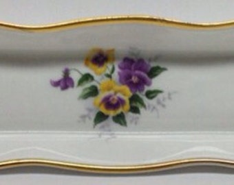 Duchess Bone China Tray Pearl Pansy print 8 3/8 inch long