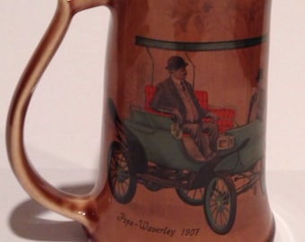 Vintage Beer Mug 1907 Pope-Waverly classic electric car motif