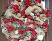 BURLAP, LEOPARD and GERANIUMS Wreath