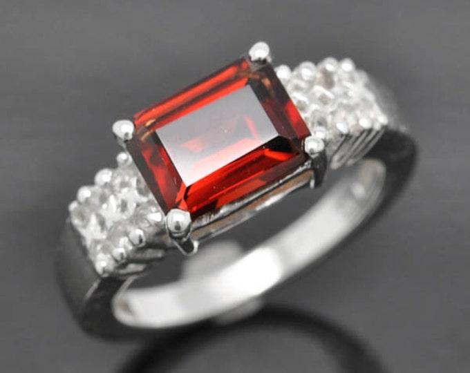 Garnet ring, sterling silver ring, genuine gemstone, red, january, birthstone, gemstone ring, one of a kind
