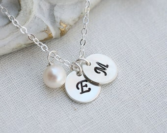 Personalized necklace,Two Initial letter charms,Sterling silver dot Necklace,Sisterhood,Best Friends,Mom and baby,Friendship