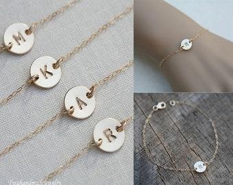 10% OFF,Set of 5,Personalized initial bracelet,Monogram initial bracelet,Tiny dot solitary Disc Bracelet,Bridesmaid gifts,