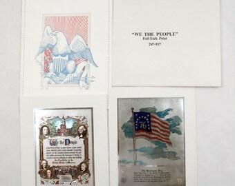 Vintage We The People Constitution Preamble and Bennington Flag Foil Print Set