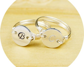 Any Initial Monogram Ring-Hand Stamped Script Print Sterling Silver Filled Ring with Alum. Blank- Size 4, 5, 6, 7, 8, 9, 10, 11, 12, 13, 14