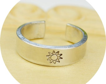 Sun Adjustable Ring- Hand Stamped Aluminum Sun Ring - Any Size- Size 4, 5, 6, 7, 8, 9, 10, 11, 12