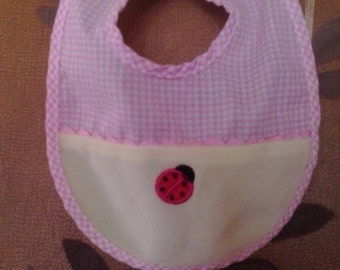 80s pink and white gingham and ladybird baby bib