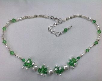 Handmade Bead woven necklace Jewelry original design Crystal beaded jewelry