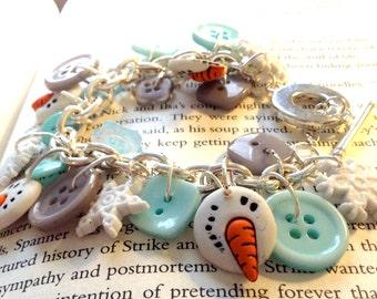 Snowman Button Charm Bracelet