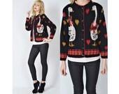 Vtg 80s Black + Red Cardigan Sweater Jacket Goose Bird Print Retro Novelty S M L 0123