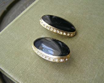 60s Enamel Rhinestone Clip Earrings, Retro black Oval Earrings, Mid Century Retro Mad Men Inspired, Woman Mother gift, Evening Mod Jewelry