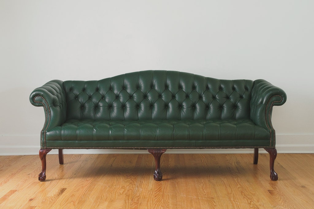 Vintage Green Leather Camelback Chesterfield Clawfoot Sofa