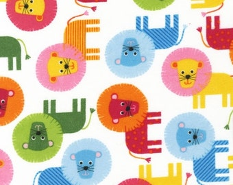 FLANNEL - Colorful Lions from Robert Kaufman's Urban Zoologie