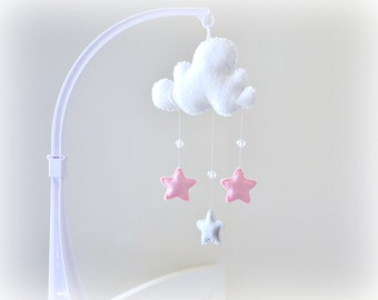 Star mobile - cloud mobile - white, pink and gray - baby mobile - nursery decor - MADE TO ORDER