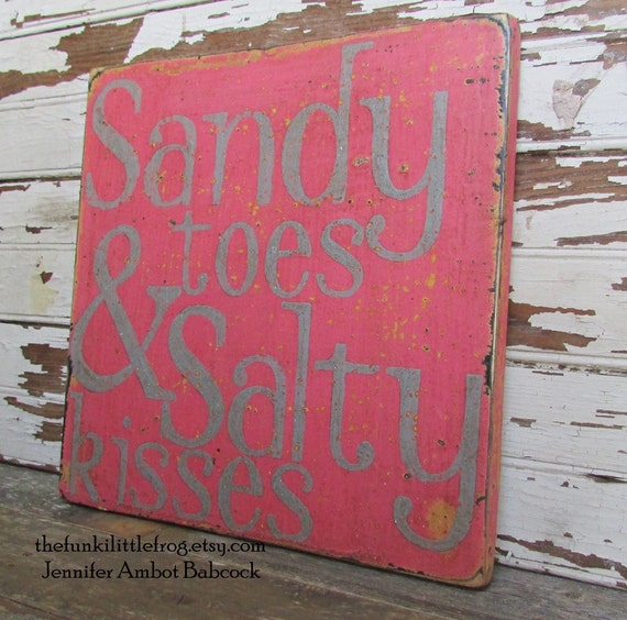Sandy Toes & Salty Kisses Pink Weathered Distressed Wooden Handpainted Sign Art.  TheFunkiLittleFrog