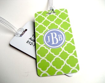 Luggage Tag - Family 4-Pack - Lime Quatrefoil Luggage Tag - Monogram Luggage Tag - Quatrefoil  Travel Tag