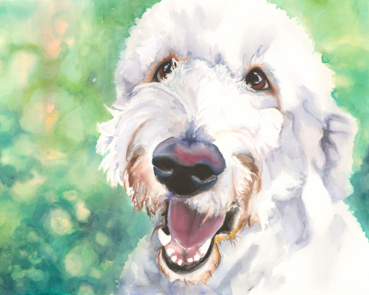 8x10 goldendoodle watercolor giclee fine art print for Dog painting artist
