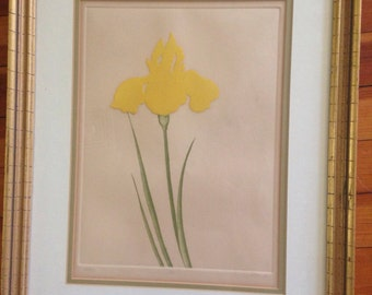 Vintage raised yellow tulip print signed limited edition framed
