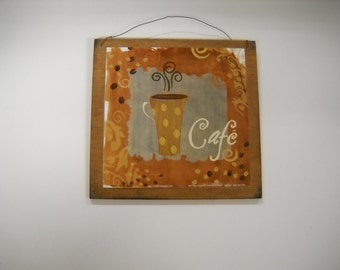 Cafe coffee cup Wooden kitchen Wall Art sign