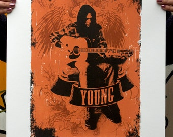 Hand Pulled Limited Edition Neil Young Screen Print