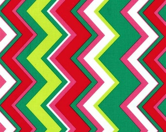 Michael Miller Christmas Fat Quarter Fabric for quilt or craft Chevy Chevron in Garland