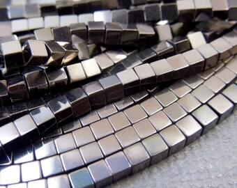 Hematite Cube Beads-- 2mm Metallic Brown Hematite Cube Beads-- 1 STRAND (S45B1-11)