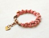 Fabric bracelet, Coral Bracelet, Friendship Bracelet, Woven Bracelet, Ibiza Style