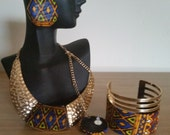 Extra Large Handmade Fabric Earring, Necklace & Cuff Set