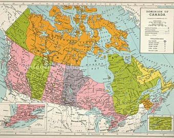 1940s Vintage map of CANADA cartography Canada maps