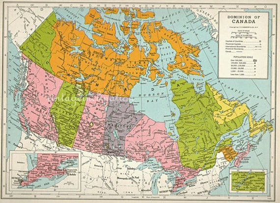 1940s vintage map of canada cartography canada maps like this item gumiabroncs Image collections