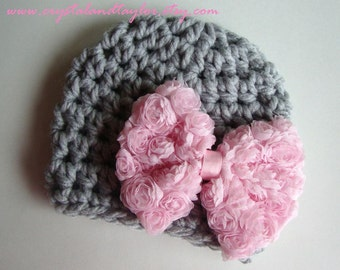 Baby Girl Hat, Newborn Hat, Light Gray and Light Pink Baby Crochet Hat, Photo Prop, Hat with Bow