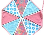 SALE *** Retro Pink Blue Flag Bunting. Party Pennant, Home Decoration Decor, Party, Gift . HANDMADE . Ooak