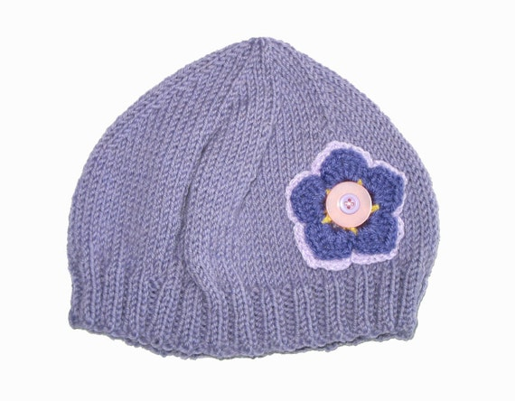 Girls Retro Handmade Purple Knitted Wool Beanie Hat with Flower & Buttons . Gift Idea . Size - Age: 2 3 4 5 6 . OOAK . Made in Australia