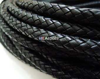 Leather Cord 10mm - Black Round Braided Bolo Genuine Leather Cord ( Hole Inside )