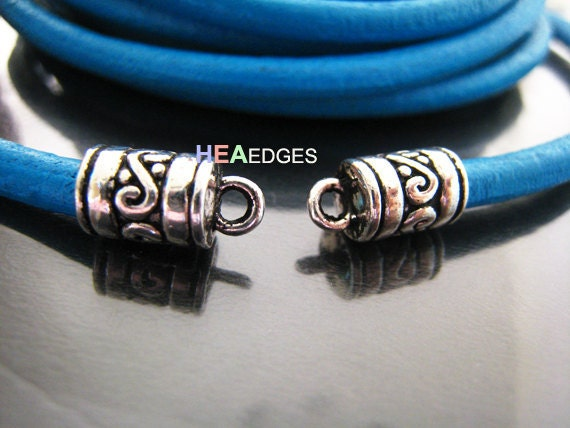 6pcs Silver End Caps 5mm - Findings Vintage Silver Leather Cord Ends Cap with Loop 13mm x 7mm ( inside 5mm diameter )